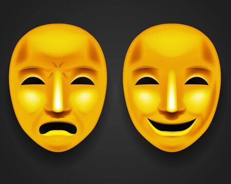 Masque de visage de théâtre doré isolé tristesse joie acteur blanc jouer antique réaliste 3d maquette illustration vectorielle de conception