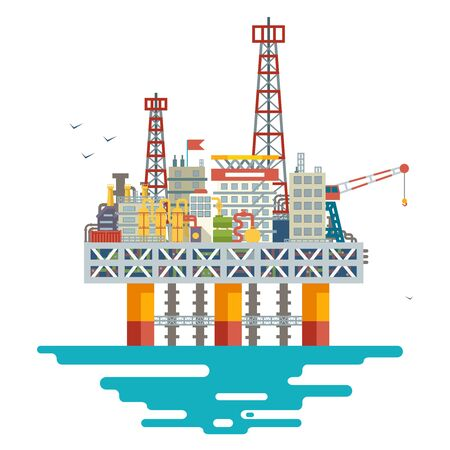 Offshore platform oil production colloquially rig mineral ocean sea extraction flat design vector illustration