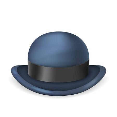 Cappello a bombetta da gentiluomo 3d isolato design vintage illustrazione vettoriale Vettoriali