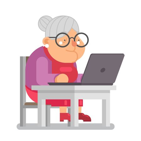 pc computer granny with old lady education character cartoon flat design vector illustration