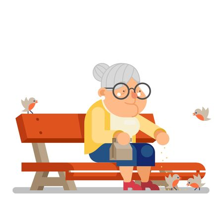 Grandmother feeding birds on outdoor park bench old lady character flat design vector illustration Ilustrace