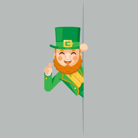 Pointing finger up looking out corner saint patrick leprechaun gnome celebration clover design flat vector illustration