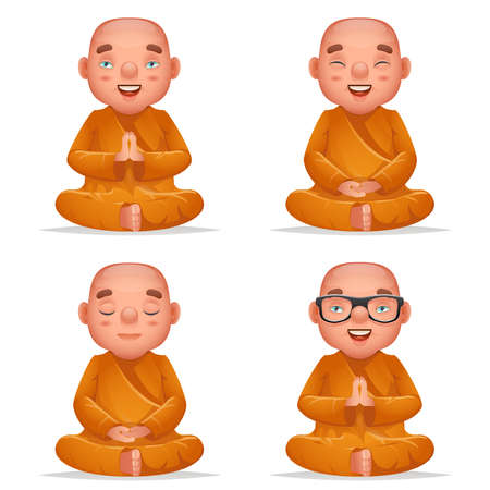 Cute buddhist sitting monk traditional asian buddhism culture meditation religion cartoon 3d realistic character set isolated on white design illustration Stock Illustratie