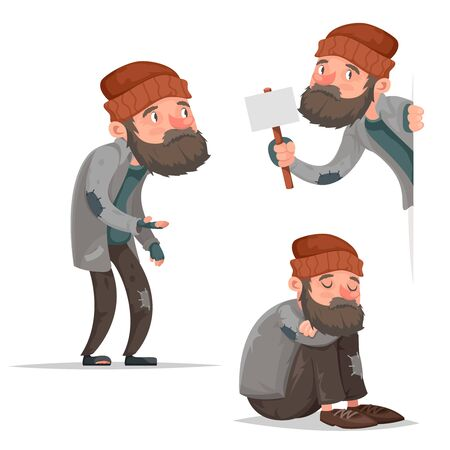 Cartoon homeless bum poor male depressed character isolated icons set design vector illustration Vettoriali