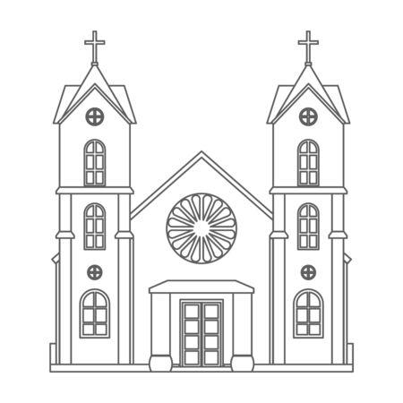 Christianity line art church architecture house building religious design vector illustration