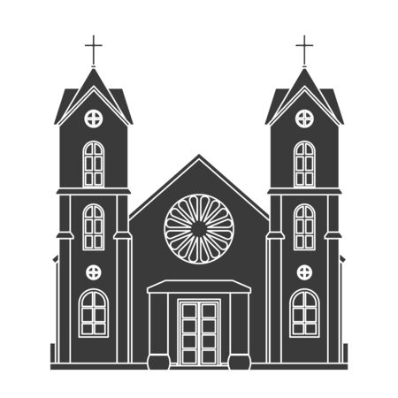 Church silhouette christianity architecture house building religious design vector illustration