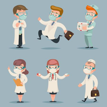 Different doctors positions and actions character set cartoon design vector illustration