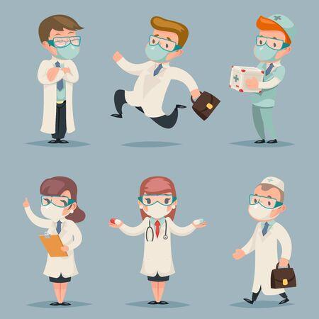 Différentes positions et actions de médecins jeu de caractères dessin animé design illustration vectorielle