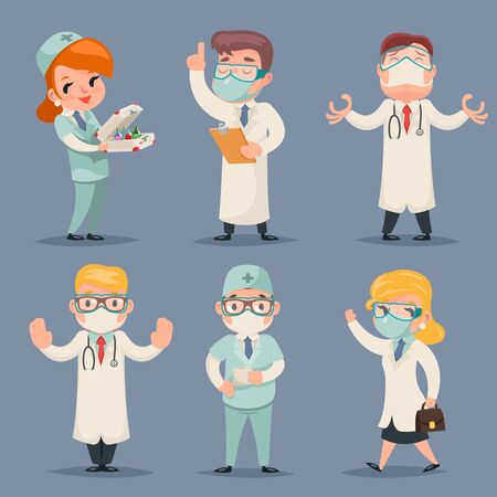 Medic different positions doctor characters set retro cartoon design vector illustration