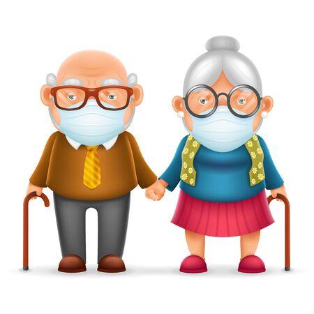 Nettes älteres Paar Großvater Großmutter schützende medizinische Gesichtsmaske 3d realistische Cartoon-Familien-Charakter-Design-Vektor-Illustration