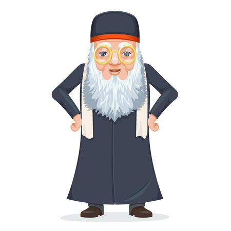 Old wise man traditional sage priest mage rabbi costume cartoon design character vector illustration