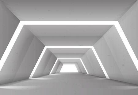 Hallway tunnel with lights background abstract design vector illustration