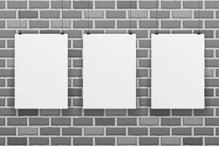 Three blank white paper sheet on raw brick wall background vector illustration