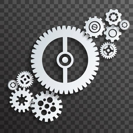 Mechanical machine cogwheels gears transparent background vector illustration