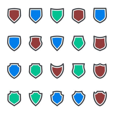 Protection icons shield collection silhouette design vector illustration