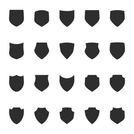 Shield protection icons collection silhouette design vector illustration