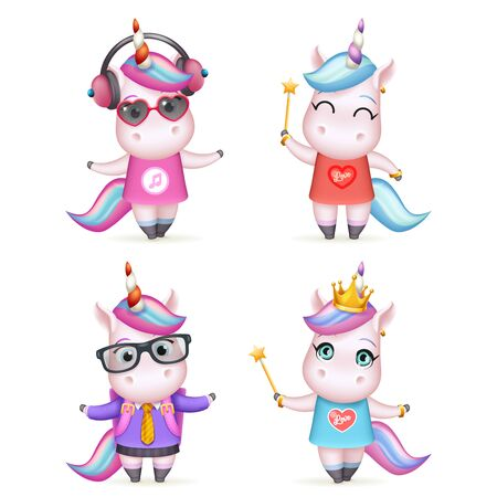 Happy girl unicorn isolated 3d cute cartoon characters set design vector children Illustration Stock Illustratie
