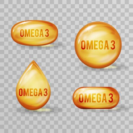 Vitamin capsule D fish oil omega 3 realistic vector design illustration