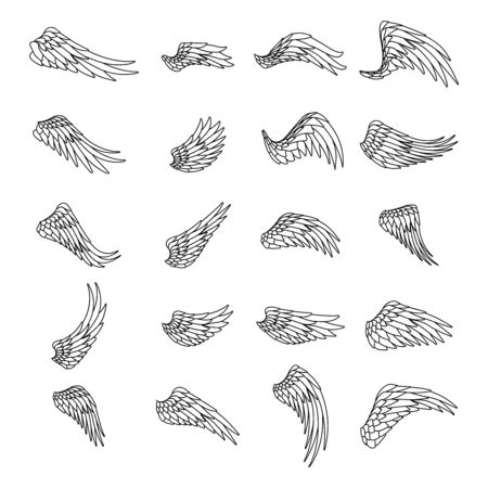 Lineart isolated wings bird animal angel fly design set vector illustration Stock Illustratie