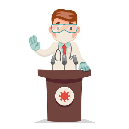 Doctor virologist scientist tribune performance character design cartoon vector illustration
