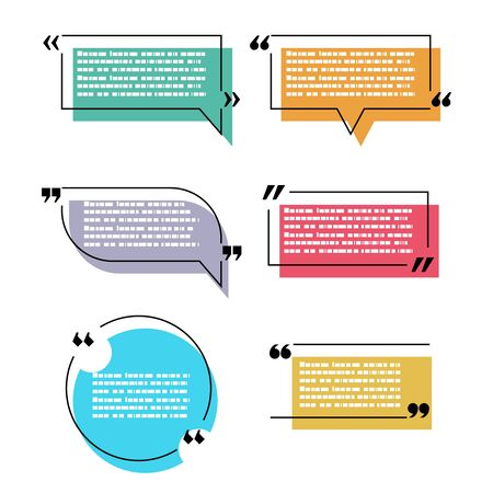 Quote speech bubble text box isolated design vector illustration Stock Illustratie