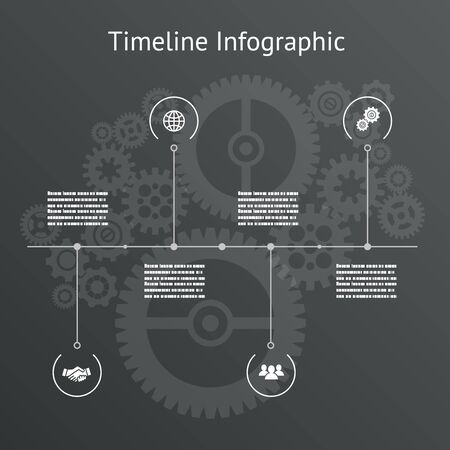 Timeline infographics business design template gears background vector illustration