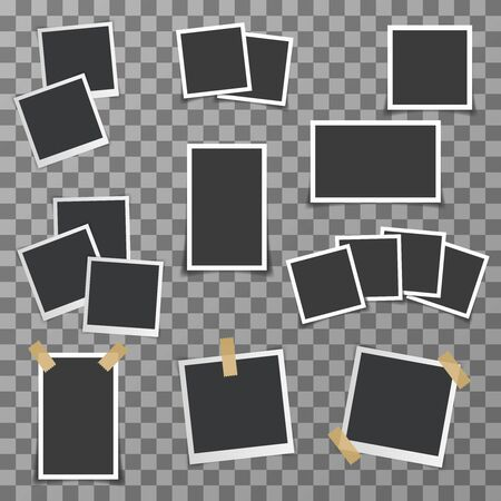 Photo picture frame with shadow realistic design set vector illustration