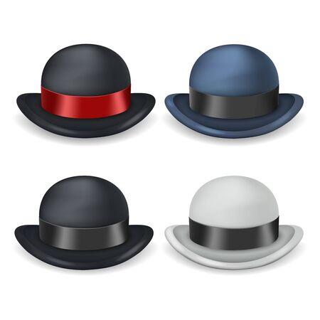 Gentleman bowler hat isolated 3d vintage design set vector illustration