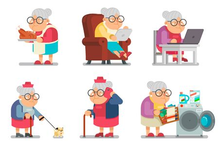 Granny character cartoon design flat set vector illustration
