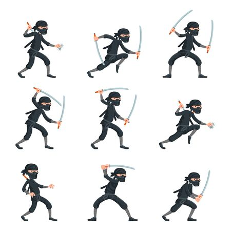 Japanese secret assassin cartoon ninja characters vector set illustration