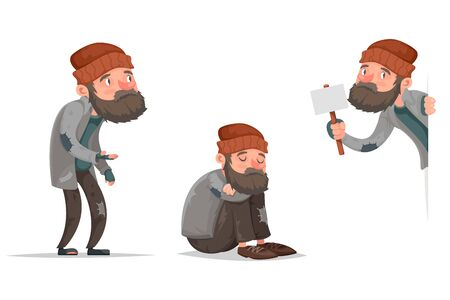 Cartoon homeless bum characters set vector illustration