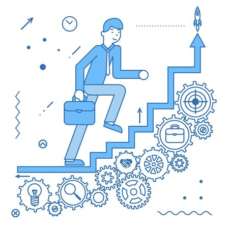 Business ladder stairs businessman goes to success bears icons flat design vector illustration