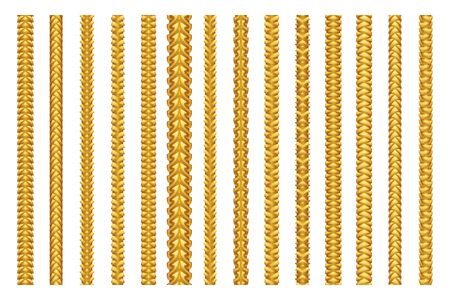 Seamless golden decoration chain braid ornament belt plait isolated gold pattern border design set vector illustration Stock Illustratie