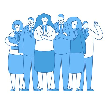 Business team group office workers work crew standing together characters design vector illustration