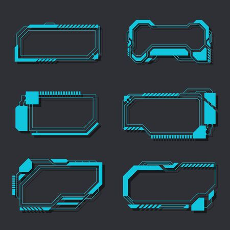High tech futuristic interface elements panel control menu vector illustration