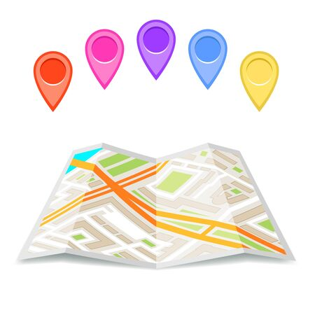 Paper city street map icon folded urban place flat fold design vector illustration
