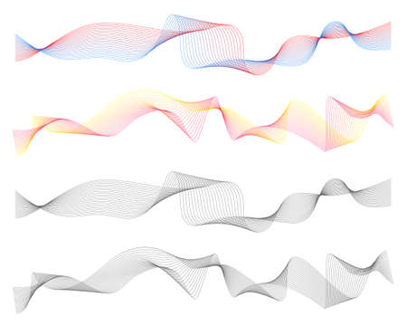 Abstract line waves digital design set vector illustration Stock Illustratie