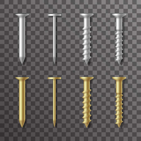 Nails and screws stainless steel and brass repair elements fixing set design vector illustration