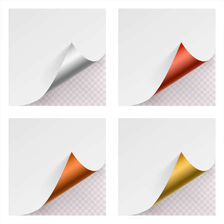 Metallic curled corner paper mock up set on transparent background vector illustration Stock Illustratie
