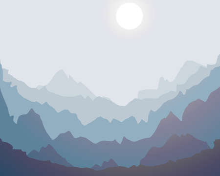 Misty mountain silhouette landscape background design vector illustration