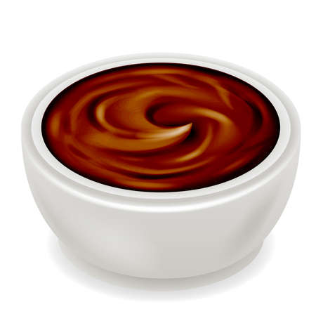 Chocolate cream curl splash realistic 3d isolated design vector illustration