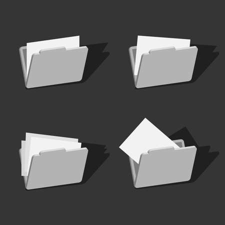 3d folder icons set design vector illustration