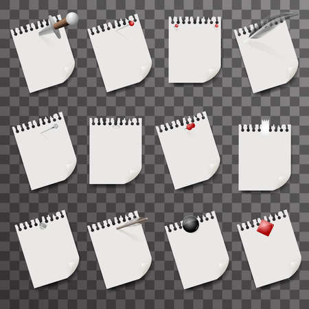 Blank sheets of paper with clips design vector illustration