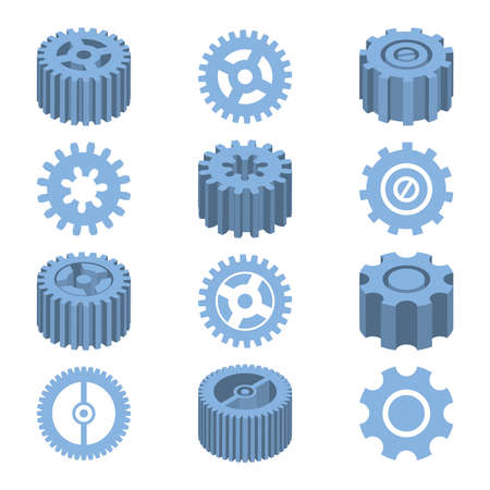 Isometric gears set mechanical design vector illustration