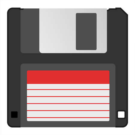 Retro vintage information storage device floppy disk vector illustration