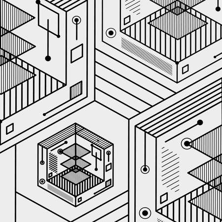 Abstract lines background design isometric vector illustration