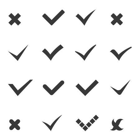 Check marks tick cross icons set vector illustration