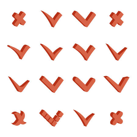 Isometric check marks tick cross icons set vector illustration