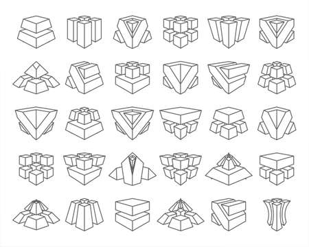 Lineart abstract cubes geometric isolated set vector design illustration Stock Illustratie