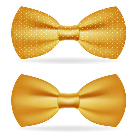 Golden bow tie gentleman isolated gold 3d icon design vector illustration